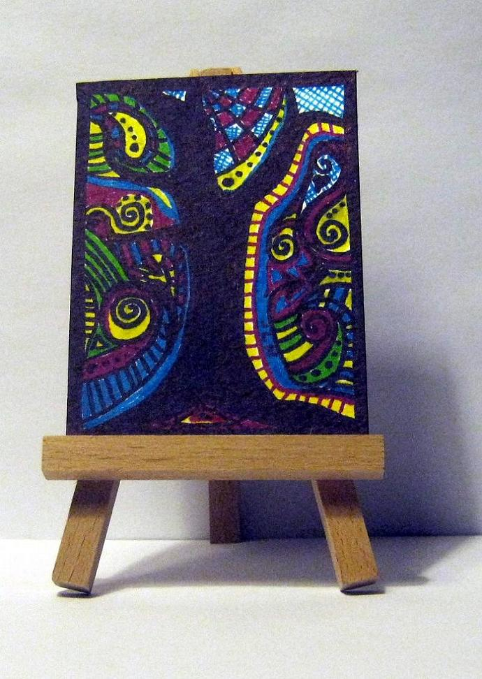 ACEO abstract landscape - Shadow