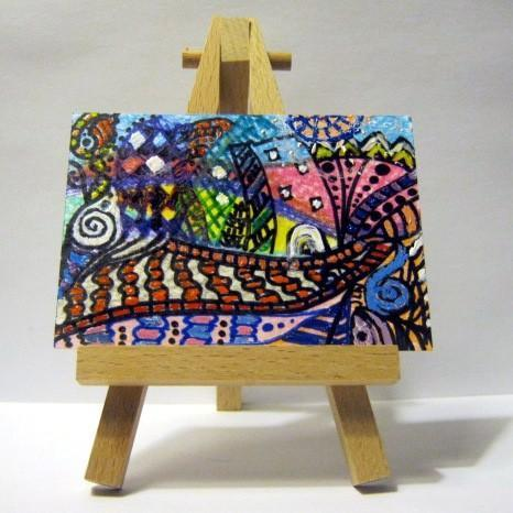 ACEO original abstract cityscape colored pencil sharpie acrylic colorful pink