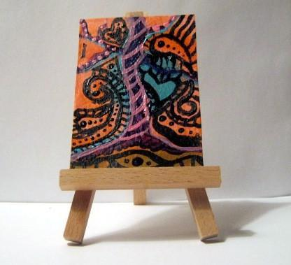 ACEO acrylic abstract - small painting - pink, orange, and turquoise art