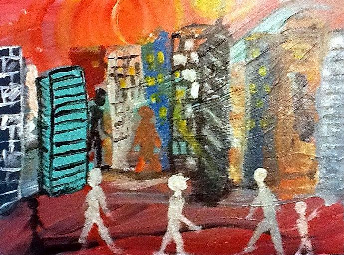 original abstract acrylic painting - modern city artwork - A Walk in the City