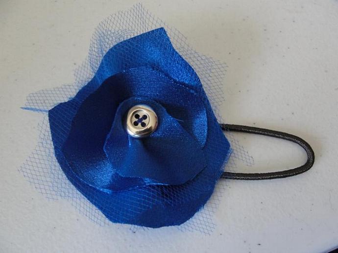 Blue Satin Flower Pony-O