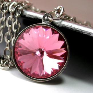 Rose Swarovski Crystal and Antique Silver Pendant