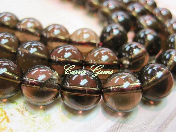 "Smoky Quartz 10mm Round,16"" long"