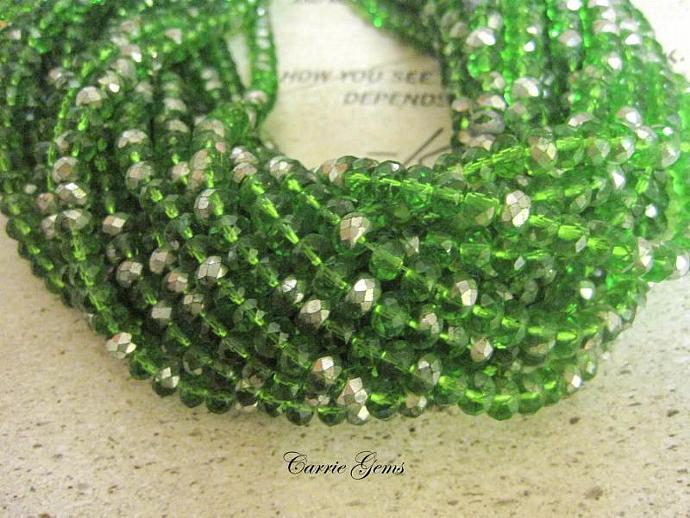 Green Half Coated Glass Rondelle Beads, 6mmx4mm, 50pcs