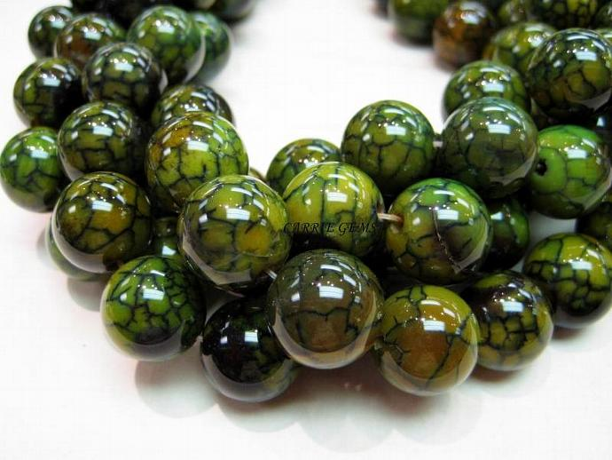 Olive Green Agate 16mm Round Beads,8pcs