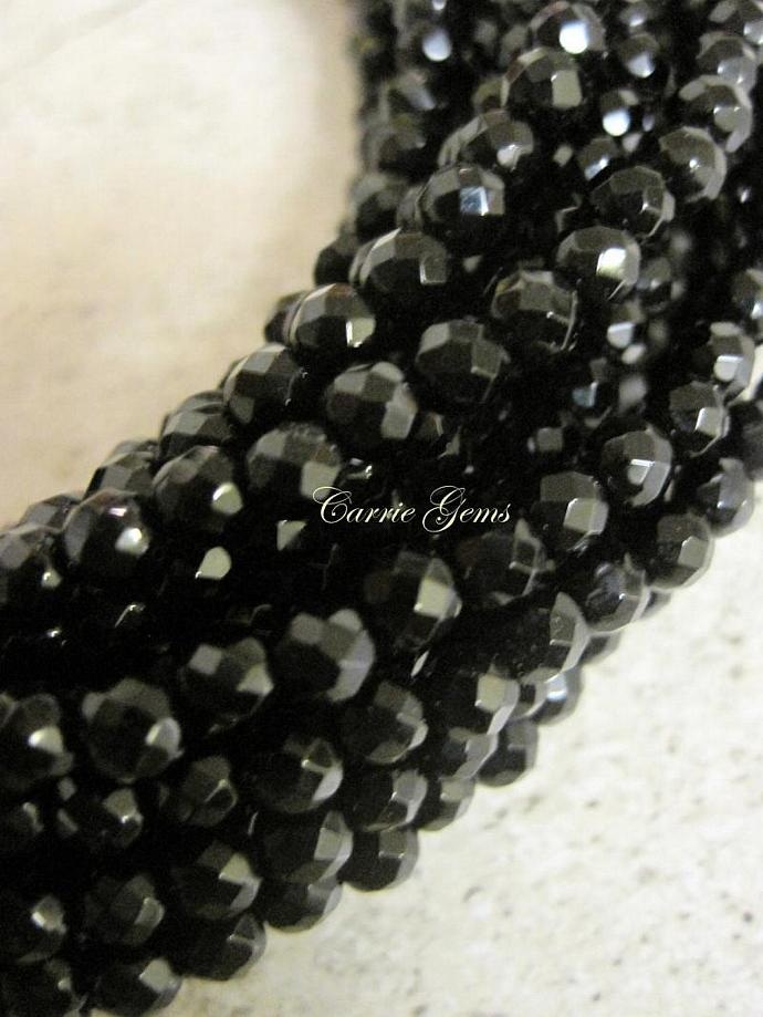 """Onyx Faceted Round 4mm, 8"""" long, 49 pcs"""