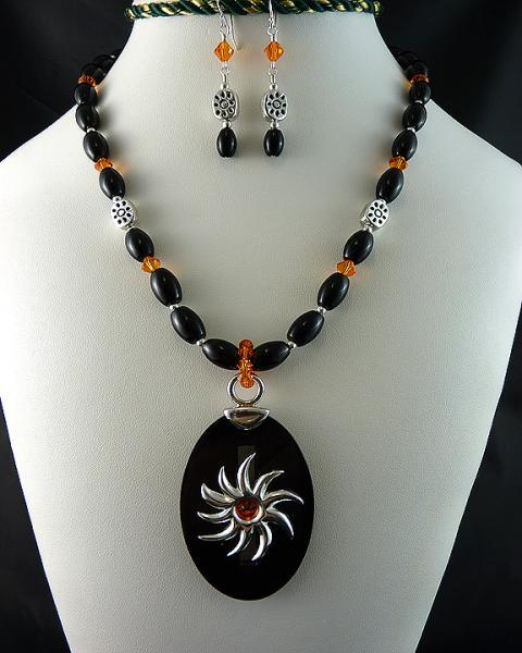 Sterling Silver and Black Horn Swarovski Sun Necklace and Earring Set