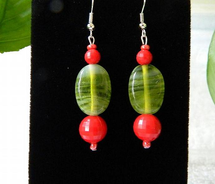 Red  and  green  acrylic    dangle  earrings