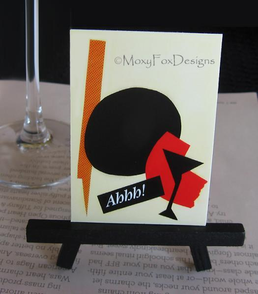 "ACEO ---  Sophisticated Cocktails Martini Glass James Bond ""Shaken Not Stirred"""