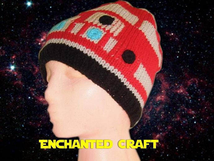 Hand Knitted R4 Droid Hat for the fan of Star Wars