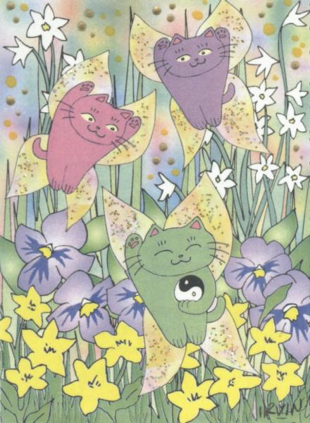 MANEKI NEKO FAIRY CATS IN SPRING LTD ED ACEO PRINT