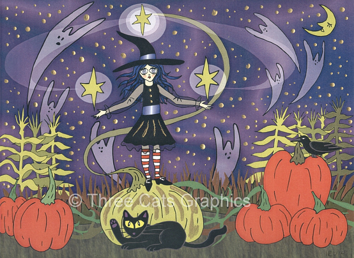 Calling Them Home - Witch with Pumpkins, Black Cat, & Ghosts Limited Ed Print