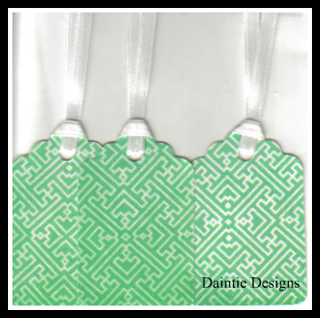 Teal and White Crazy Pattern Tags Set of 3