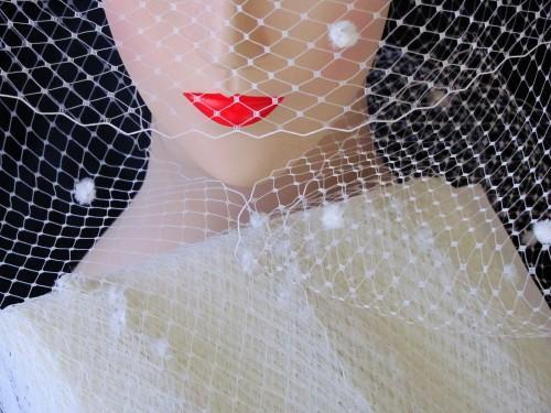 Cream Ivory Chenille Dot Millinery Hat Veiling Birdcage Veil