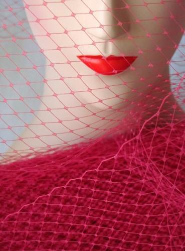 Raspberry Red Millinery Hat Veiling Veil