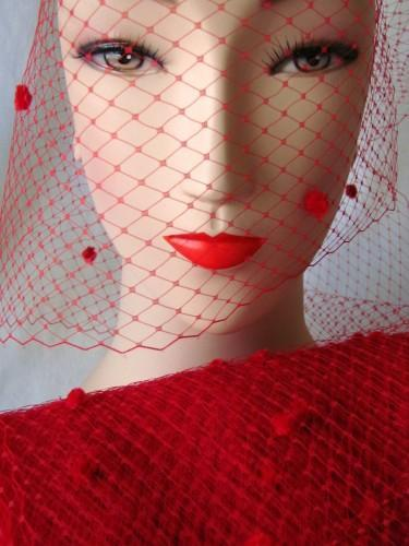 Red Chenille Dot Millinery Hat Veiling Net