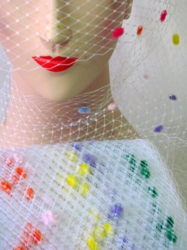 White Multi Color Chenille Dot Millinery Hat Veiling