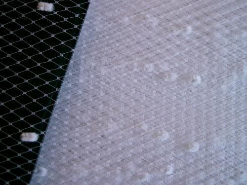 White Chenille Dot Millinery Hat Veiling Birdacge Veil