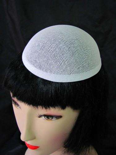 White buckram oval dome millinery hat frame