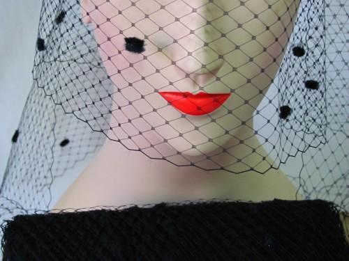 Black Chenille Dot Millinery Hat Veiling Veil