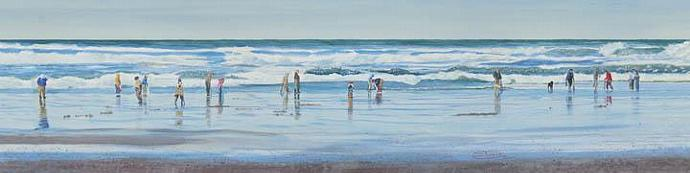 """Digging For Clams"" Canvas Giclee Print by Carol Thompson"
