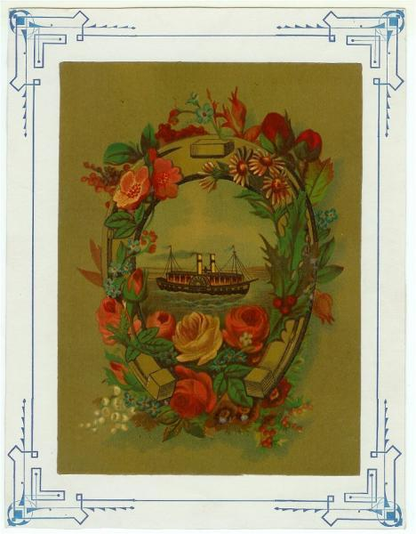 Antique Chromolithograph Chromo Print Roses Ferry Boat Horseshoe 1880s