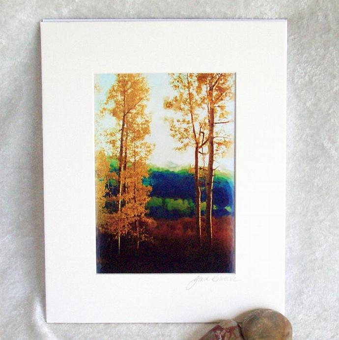 Faded Aspens print, 5x7 print matted to  8x10 inches, ready to frame