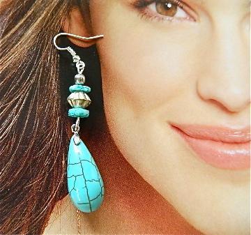 Long  turquoise  teardrops  dangle  earrings