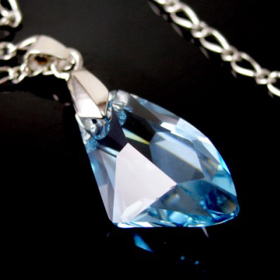 Galactic Blue Swarovski Crystal Pendant Necklace