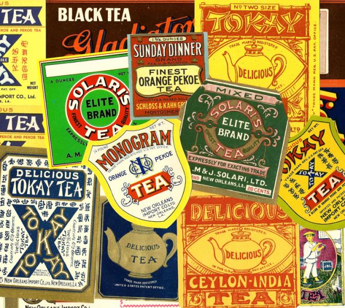 Vintage Tea Labels Packet of 4