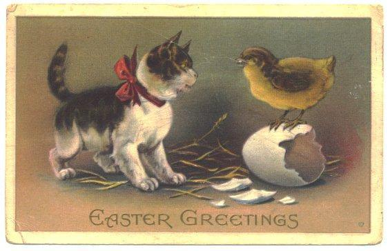Antique Easter Greetings Postcard Kitten Cat Chick Easter Egg