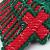 12 Red and Green Christmas Cross Tree Ornaments