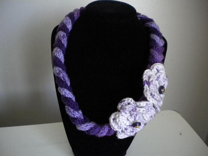 Purple Knit Necklace