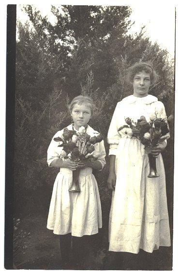 Vintage 1910s RPPC Little Girls with Bouquets Real Photo Postcard