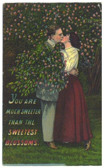 Vintage 1910s Romance Postcard Kissing Couple Sweeter than Blossoms
