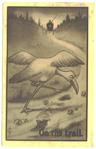 Vintage Romance Baby Postcard Stork on the Trail Artist Signed FLC