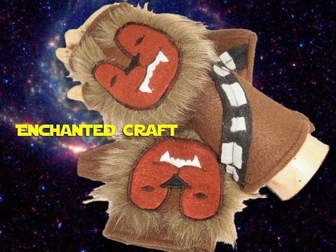 Fleece Chewbacca Fingerless Gloves for Star Wars fans