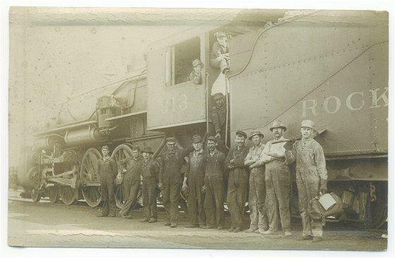 Vintage 1910s RPPC Rock Island Train 913 Railroad Crew Real Photo Postcard