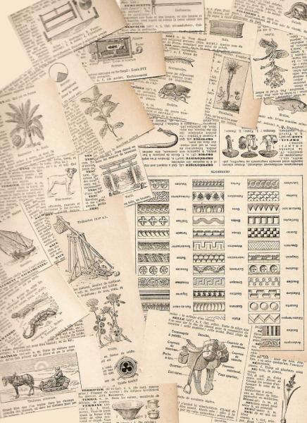 French Engravings 1924 Antique Ephemera 50-Piece Packet