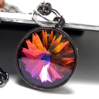 Kaleidoscope Gunmetal Pendant Necklace