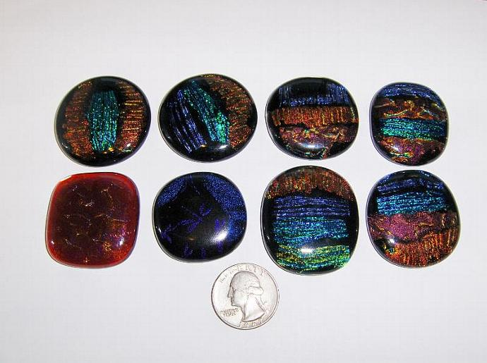 DICHROIC glass Cabochons PENDANT accent tile bead wire crafts PMC 90 coe (8)-All