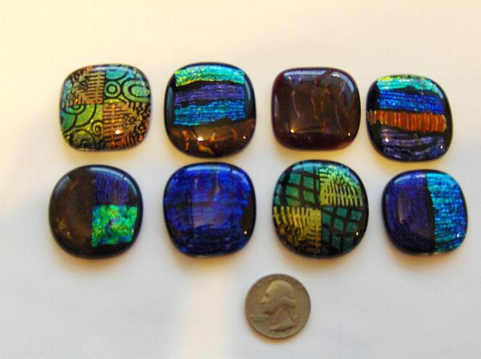 DICHROIC glass Cabochons PENDANT accent tile bead wire crafts PMC 90 coe (8)-