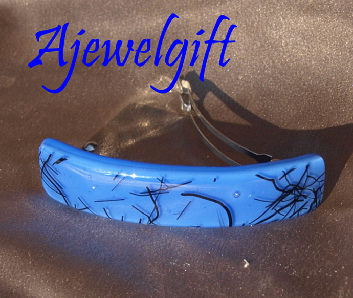 Abstract on Blue Fused Glass Barrette  103131