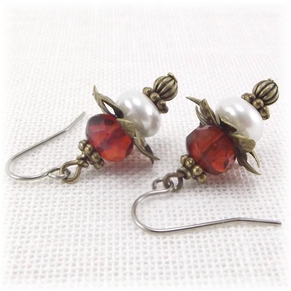 Pearl and Raspberry Bead Dangle Earrings