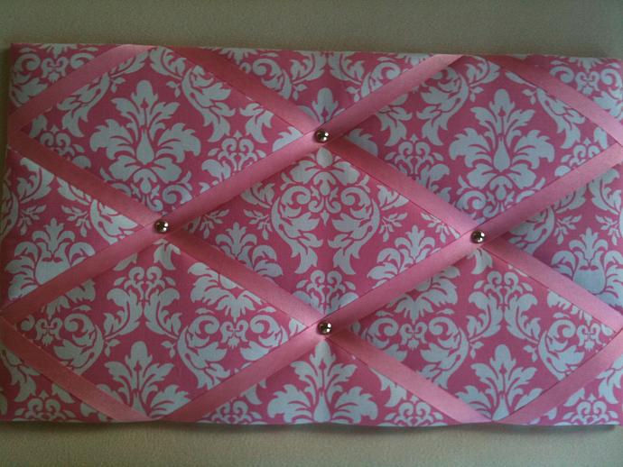 "Pin Boards/Notice Boards/Memo/ ""Pink Damask"""