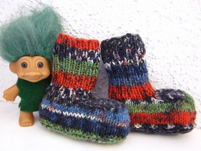 Hip Cool Mismatched Handmade Knit Baby Booties