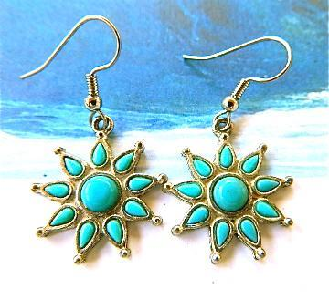 Vintage  turquoise  flower  earrings