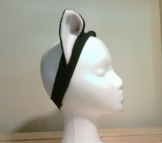 Black/white Cat EARS headband KITTY CAT cosplay