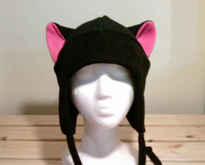 BLACK / PINK KITTY CAT AVIATOR earflap fleece Hat