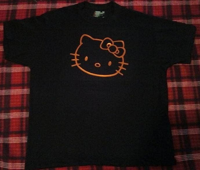 Hello Kitty Neon Orange On Black Quality T - Shirt All Sizes New